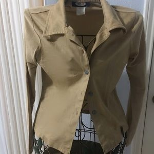 Camel Suede-like Shirt Small Jordache Vintage